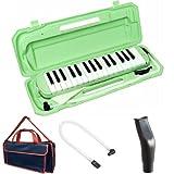 KC 鍵盤ハーモニカ (メロディーピアノ) ライトグリーン P3001-32K/UGR + 専用バッグ[Navy Blue] + 予備ホース + 予備吹き口 セット