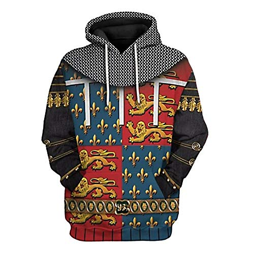 YesCoser 3D Printed Pullover Hoodie Hooded Sweatshirt for Historical Figure Medieval Knight Cosplay Costume, Edward of Woodstock, XX-Large