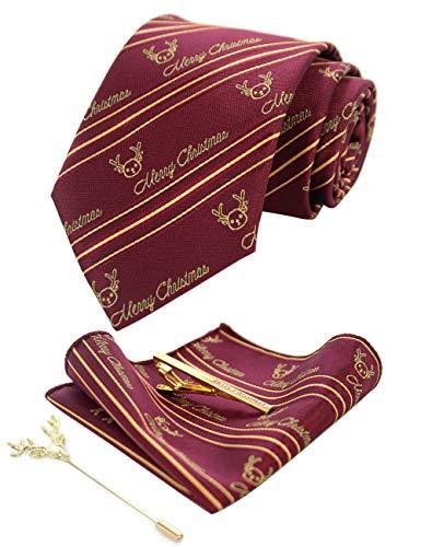 JEMYGINS - Corbata para hombre, edición limitada de Navidad, regalo de Navidad con pañuelo y alfiler de corbata con caja incluida Vino. Rosso. Oro. Strisce. Medium