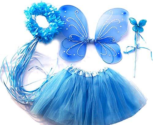 """Tante Tina Costume Bambina """"Farfalla Set di 4 Pezzi – con Ali da Fata o Farfalla – Ghiaccio Blu con coroncina"""