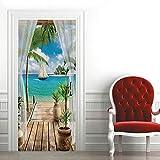MUMOHO 3D Door Mural Green Door Office Art Door Stickers for Interior Doors, Bedroom Living Room Bathroom House Decoration 30.31'78.74'