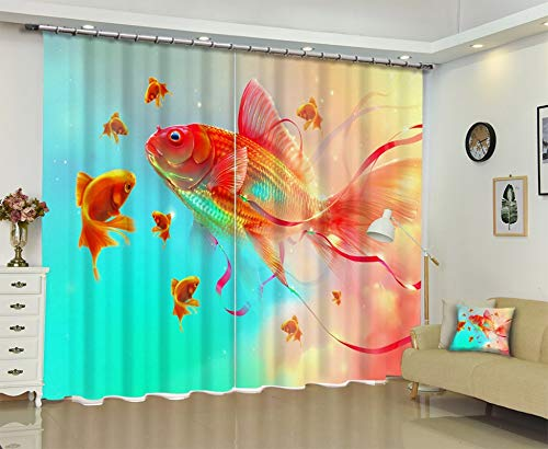 AmDxD 2 Panels Polyester Curtain Fabric, Curtains Blackout Goldfish Window Drapes Curtains, Green Blue Orange, 84 W x 45 H Inches