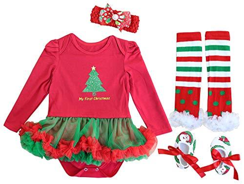 FANCYINN Conjuntos Bebe Niña Navidad Arbol Tutu Vetidos Leggins Mi Primera Navidad Ropa 4 Piezas