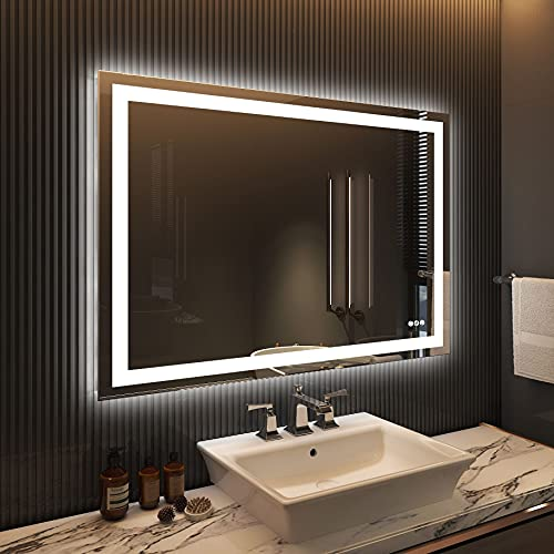 Amorho LED Lighted Bathroom Mirror 48x36, Large Shatter-Proof Mirrors with Double Lights, Dimmable, Anti-Fog (Backlit + Front-Lighted)