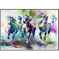 クリスタル磁器Painitngランニングホース壁アートキャンバスプリント家の装飾アートポスターとプリント抽象的な動物キャンバス絵画の装飾