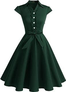 Women's 1950s Retro Rockabilly Dress Cap Sleeve Vintage Swing Dress