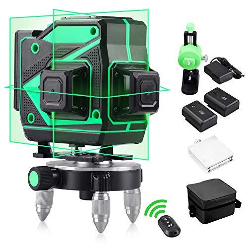 Nivel Láser Profesional 360 Autonivelante Niveles Láser Verde 3D 12 Líneas Láser...