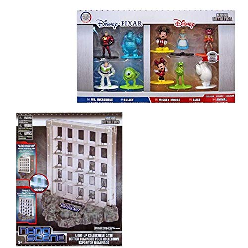 NanoScene Metalfigs Light - Up Collectible Case & Disney Pixar and Disney Nano Metalfigs Die-Cast Mini-Figures 10-Pack Bundle