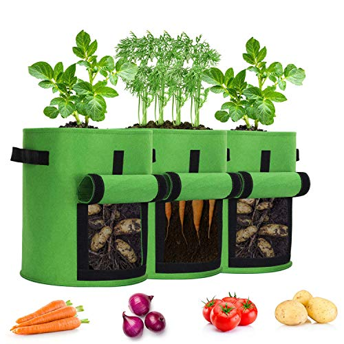 YOOKEA Pflanzen Tasche 3 Stück Pflanzbeutel 7 Gallon Pflanztasche mit Griffe Pflanzsack aus Filzstoff Pflanze Grow Bag mit Sichtfenster Pflanzbehälter für Kartoffeln Tomaten, 26L