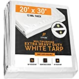 Heavy Duty White Poly Tarp 20' x 30' Multipurpose Protective Cover - Durable, Waterproof, Weather Proof, Rip and Tear Resistant - Extra Thick 12 Mil Polyethylene - by Xpose Safety