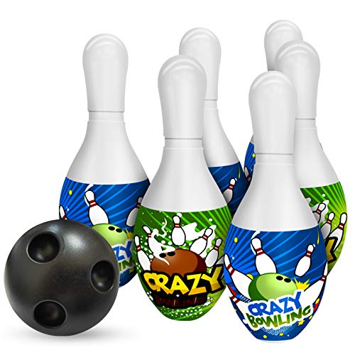 Kids Toys Bowling Pins Ball Set Fun Indoor Family Games with 6 Pins and 1 Ball Educational Learning Toys Gifts for Toddlers Boys Girls