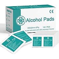 Janolia 100 pcs Toallitas de Alcohol, Toallitas Fáciles de Utilizar Envueltas Individualmente para Limpiar la Piel (100 Unidades/Caja, 30x32mm/Pieza)