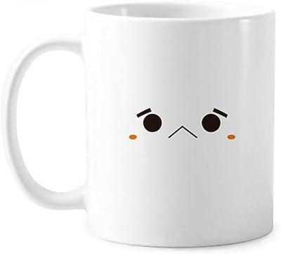 可愛い顔文字の不幸な発現 クラシックマグカップ白陶器セラミックカップの贈り物で350 mlのハンドル