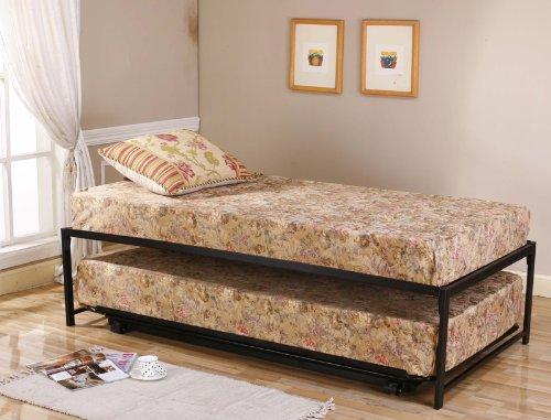 Black Metal Twin Size Platform High Riseer Day Bed Frame & Pop Up Trundle