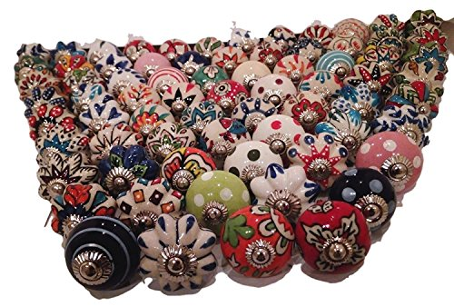 JGARTS 30 Knobs Assorted Rare Hand Painted Ceramic Knobs Cabinet Drawer Pull Pulls Drawer Puller Chrome Hardware