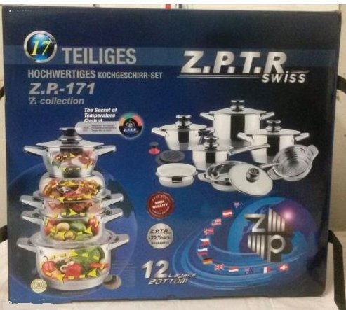 Z.P.T.R Swiss 16 Piece Stainless Steel Cookware Set. Z.P.-171