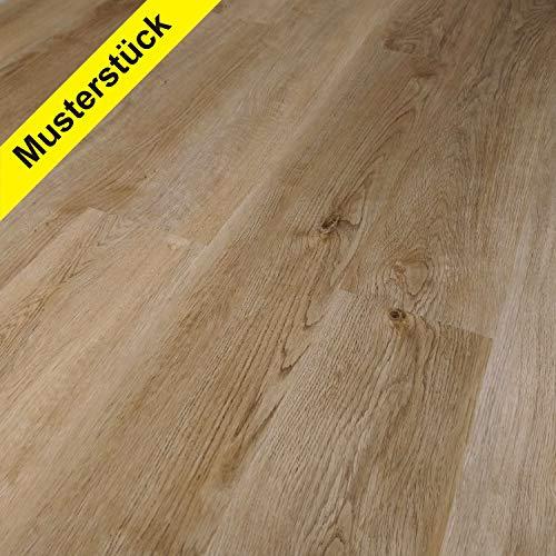 TRECOR® Klick Vinylboden RIGID 3.2 Massivdiele - 3,2 m stark mit 0,15 mm Nutzschicht - Sie kaufen MUSTERSTÜCK mit 45 cm - WASSERFEST (Vinylboden Musterstück 45 cm, Eiche Rustique Natur)