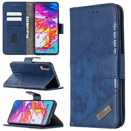 Miagon Samsung Galaxy A70 Stoßfest Brieftasche Hülle Cover,Krokodil Spleißen PU Lederhülle Ständer Kartenfächer Magnetverschluss Silikon Handytasche,Blau
