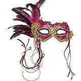 Pink Metallic Ball Mask With Feather Fancy Dress (máscara/careta)
