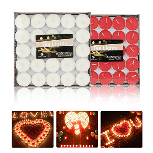 peinat Tea Lights Candles, 50PCS White Tealights Candle + 50PCS Red Tea Candles Burning 1.5 Hours Romantic Small Scented Candles in Bulk for Home, Valentines, Christma, Birthday, Wedding, Party