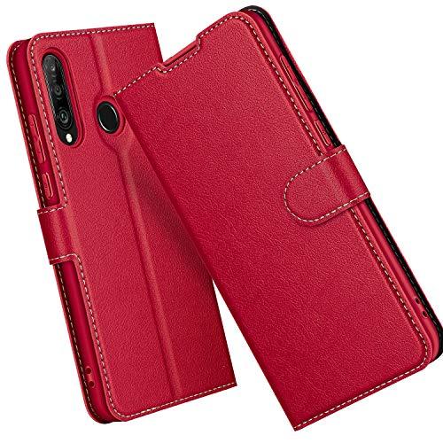 ELESNOW Hülle für Huawei P30 Lite / P30 Lite New Edition, Premium Leder Klappbar Wallet Schutzhülle Tasche Handyhülle mit [ Magnetisch, Kartenfach, Standfunktion ] für Huawei P30 Lite (Rot)