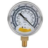 Manómetro de vacío lleno de aceite, manómetro de agua, aceite y gas, caja de acero inoxidable, 0 ~ -1000Mpa, pantalla de esfera de 2.5 ''