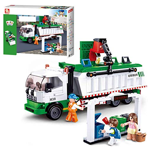 FADY Technik City Müllabfuhr Bausatz, LKW Spielzeug mit 3 Minifiguren und Zubehör, Konstruktionsspielzeug Kompatibel mit Lego Technic - 432 Teilen