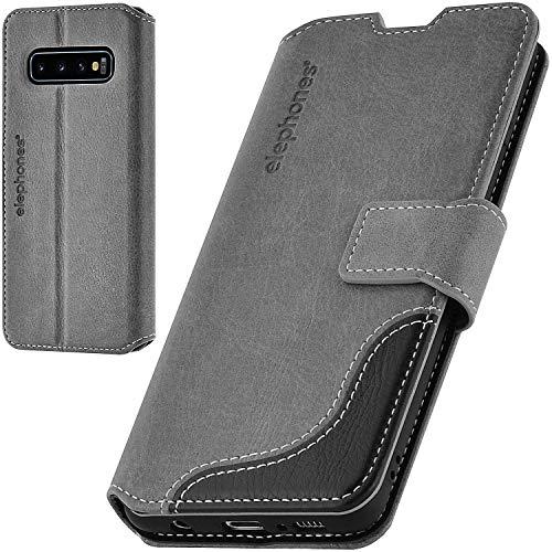 elephones Handyhülle für Samsung Galaxy S10 Plus Hülle mit TÜV geprüftem RFID-Schutz aus Premium PU Leder Flip-Hülle Handy-Tasche Schutz-Hülle Kompatibel mit Samsung Galaxy S10+ Grau
