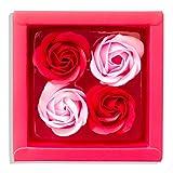 Sevenriver Handgemachte koreanische Rosenblüten aus Seife, Rot/Rosa, 4 Stück