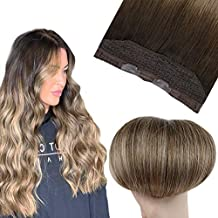 Halo Hair Extensions Easyouth 12 Inches Wire Hair Extensions Color 2T6P18 Darkest Brown Fading to Medium Brown Highlight Ash Blonde 70g Silky Straight Hair Extensions