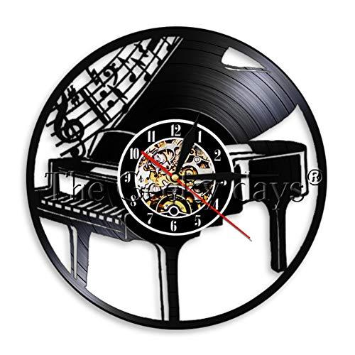 GEDASHU Reloj de Pared de Vinilo Play The Piano Vinyl Record Reloj de Pared Decoración Vintage Reloj de Pared Músico Reloj de Tiempo Arte de Pared Regalo para Pianista