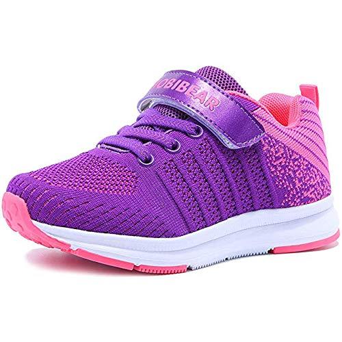 HOBlBEAR Hallenschuhe Kinder Turnschuhe Jungen Sport Schuhe Mädchen Kinderschuhe Sneaker Outdoor Laufschuhe für Unisex-Kinder, Violett, 31 EU