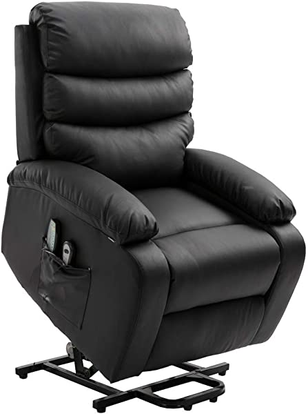 Homegear PU Leather Power Lift Electric Recliner Chair With Massage Heat And Vibration With Remote Black Renewed