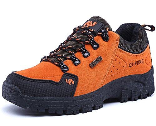 Minetom Unisex Primavera Verano Adulto Zapatillas de Senderismo Zapatos de Escalada Antideslizante Impermeable para Hombre Mujer D Naranja EU 37