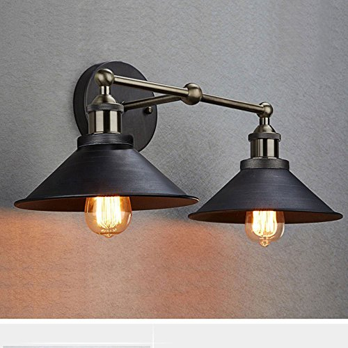 CLAXY Industrial Antique Bronze Wall Sconce 2-Light Edison Simplicity Wall Mount Light Sconces