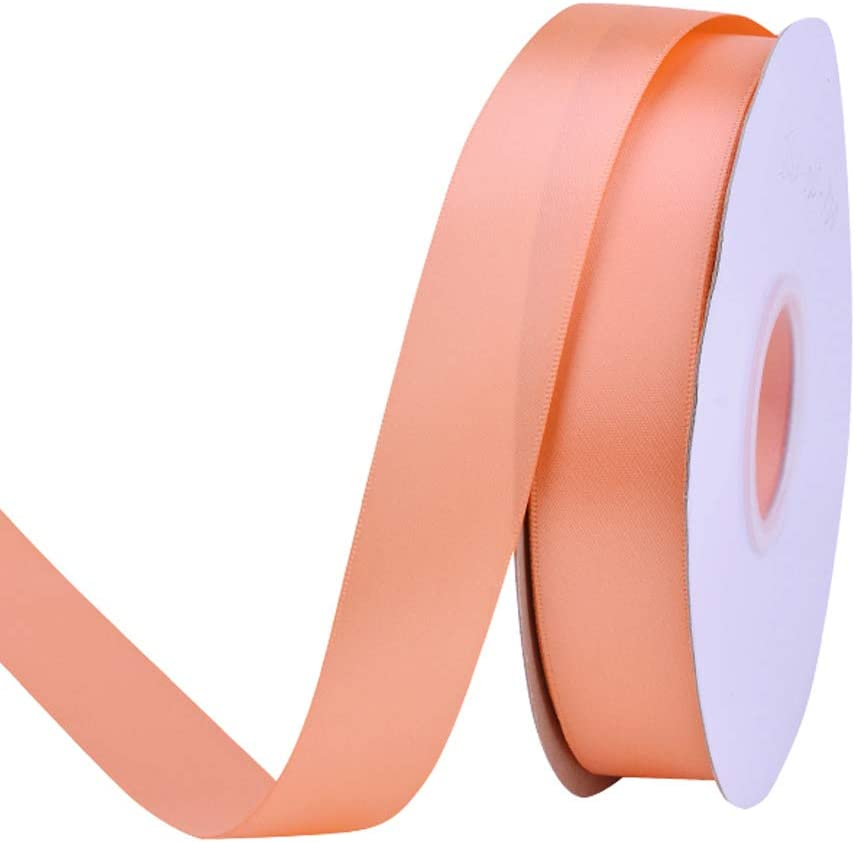 Ribest 1 inch 50 Yards Solid Double Face Satin Ribbon Per Roll for DIY Hair Accessories Scrapbooking Gift Packaging Party Decoration Wedding Flowers Peach