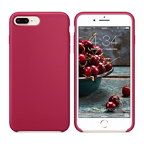 SURPHY Cover Compatibile con iPhone 8 Plus/iPhone 7 Plus, Custodia in Silicone Liquido Cover Antiurto con Fodera in Microfibra, Ultra Sottile Protettiva Case per iPhone 8/7 Plus 5.5, Porpora