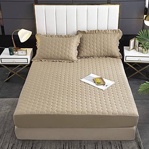 XGguo Protector de colchón - Protector de colchón antialérgico Sábana Impermeable de una Sola Pieza a Prueba de orina y transpirable-23_150x200cm + 25cm