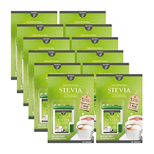 12 x borchers Stevia Süßstofftabletten, im Spender, Süßen von Heißgetränken, Süßungsmittel, Kalorienarm 12 x 120 Tbl.