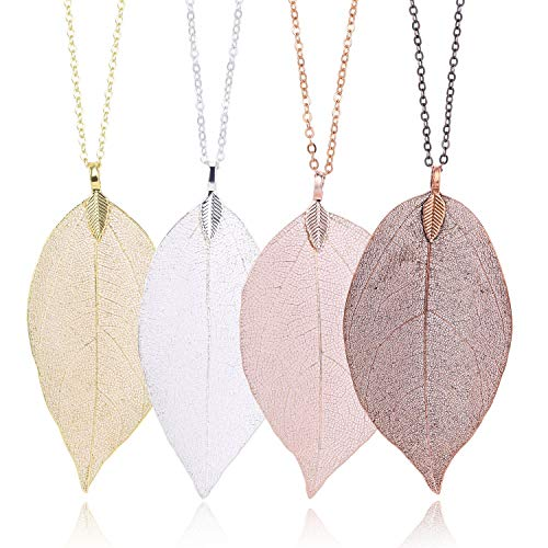 4 Color Leaf Long Pendant Necklace Handmade Trendy Filigree Bohemian Jewelry for Women Girls
