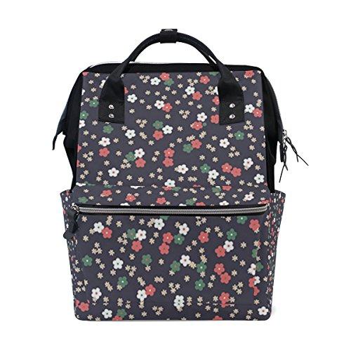Ahomy - Mochila de senderismo impermeable, diseño de flores, tela floral para la universidad, mochila de trabajo para hombre y mujer