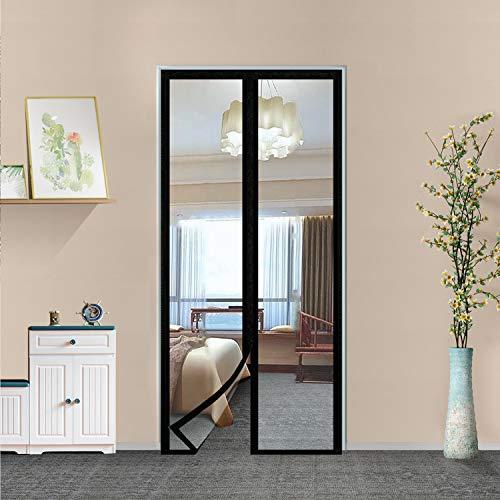 """Transparent Insulated Door Curtain-Magnetic Thermal Door Cover, Screen Door Self-Closing Magnetic Screen Door Hands Free for Patio, Kitchen, Bedroom, Air Conditioner Room, Fits Doors up to 34"""" x 80"""""""