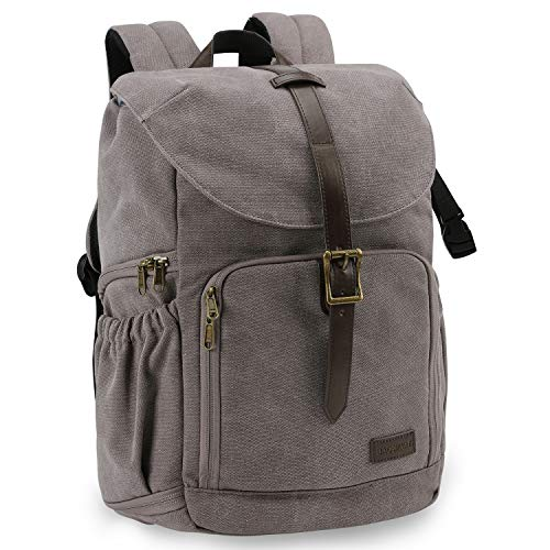 BAGSMART Camera Backpack, Anti-thief DSLR Camera Bag Water Resistant Canvas Camera Rucksack Fit up to 15' Laptop with Rain Cover, Tripod Holder (Gray)