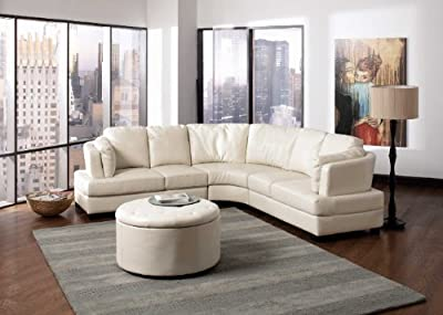 Landen Collection Sectional and Ottoman in White Coaster Furniture
