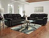 Roundhill Furniture Dual Reclining Microfiber Sofa and Loveseat Set, Allure Grey