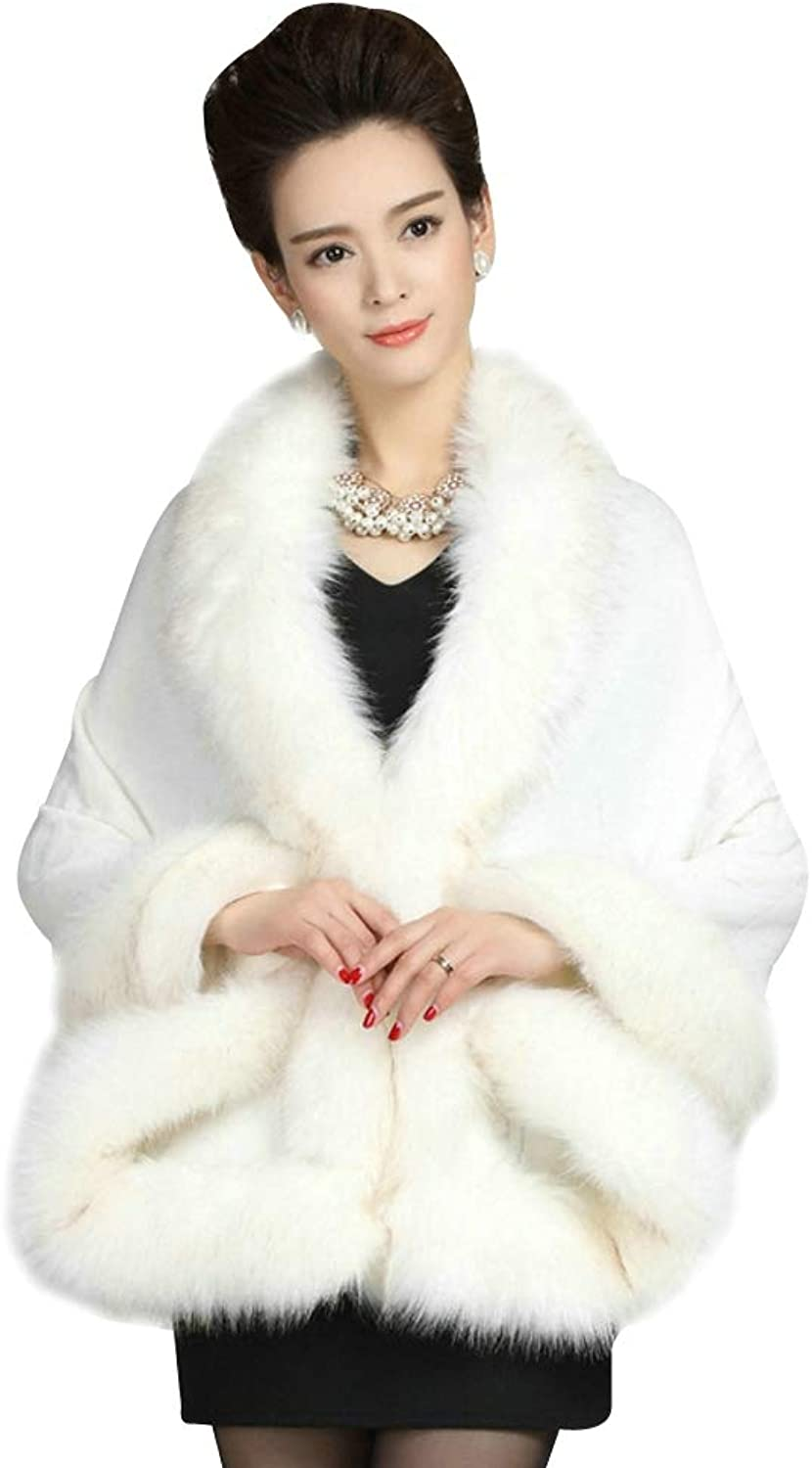 Elfjoy Luxury Bridal Faux Fur Cashmere Wool Shawl Cloak Cape Wedding Dress Party Coat for Winter (WhiteA)
