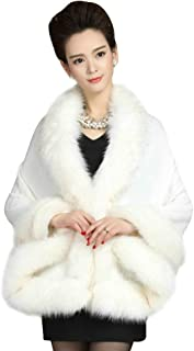 Luxury Bridal Faux Fur Cashmere Wool Shawl Cloak Cape Wedding Dress Party Coat for Winter