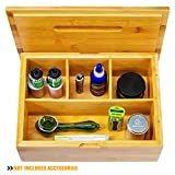 "Stash Box Large with Rolling Tray – Handmade Decorative Stash Box - 11"" x 8"" x 4"" Storage Box - Premium Quality Dovetail Design Discrete Wood Stash Boxes (large)"