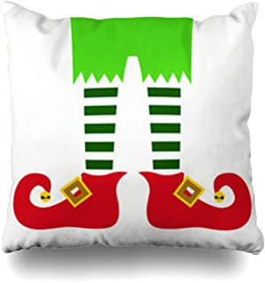 Decor Champ Throw Pillow Covers Holiday Red Costume Christmas Elf Legs Abstract Mythology Holidays Green Bells Celebration Claus Cute Home Decor Sofa Pillowcase Square Size 16 x 16 Inches Cushion Case