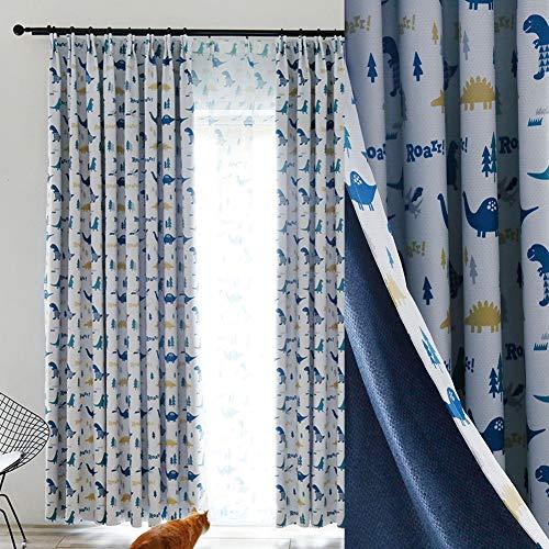 BAIVIT Dinosaurier-Verdunkelungsvorhänge für Kinderzimmer, Cartoon-Vorhänge für Jungenzimmer Niedliche Fenstervorhänge, 2 Stück, kein Tüll,W150xh260cm